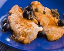 monkfish baked in foil with olives and capers