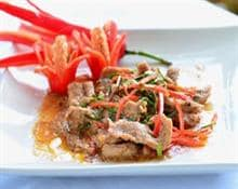 Sliced pork with peppers
