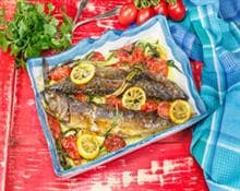 Baked mackerel with lemon and tomatoes