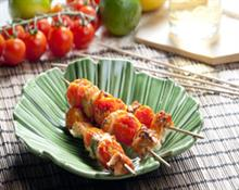Fish kebabs with cherry tomatoes