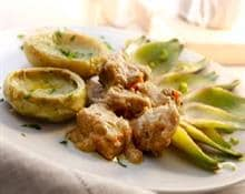 Veal nuggets with artichokes